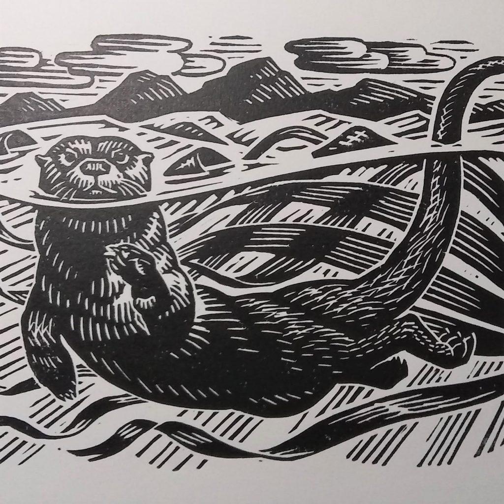 Otter linocut by Richard Allen